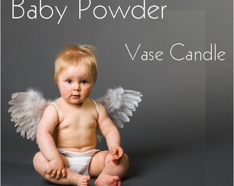 Baby Powder Vase Candle Refill - Scented, Soy, Paraffin Wax, Paper Core, Self-trimming Wick, Refillable Vase, 50 Hour Burn Time Each