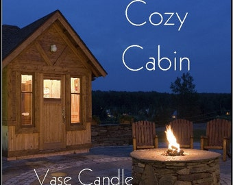 Cozy Cabin Vase Candle 2.8 oz Wax Melts - Highly Scented, Hand Poured Fresh, Premium Paraffin Soy Blend Wax Tarts, 25 Hour, Color Free