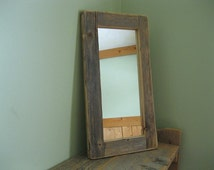 Barnwood MIRROR (5x12) handmade from reclaimed weathered wood - rustic refined