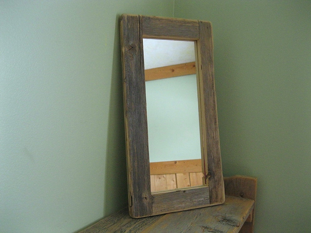 Barnwood mirror 5x12 handmade from reclaimed weathered wood for Rustic mirror