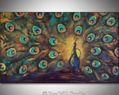 PEACOCK Art ORIGINAL Large COLORFUL Painting - Metallic Gold Copper Turquoise Oil Painting - 40x24 - Fine Art by BenWill