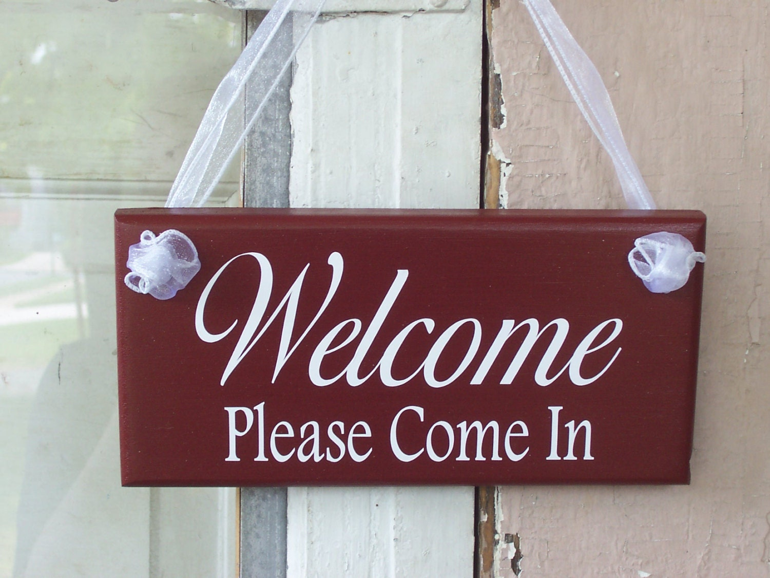 Welcome Please Come In Wood Vinyl Sign Business Office