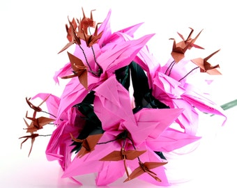 Bridal Bouquet, Pink Origami Crane Lily Bouquet, Alternative Wedding Paper Flowers