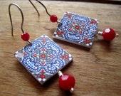 Portugal Spain Iberian Peninsula tile earrings, Boho, Spanish gypsy, Portuguese Portalegre tile Lovers Earring, Bridal