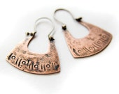 Hippie Inspired Copper and Sterling Silver Jewelry - Mixed Metal Earrings - Metalsmith Jewelry - Textured Surface - Small Size