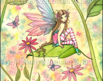 "Fairy Fine Art Fantasy Print by Molly Harrison 12 x 16 ""Spring Magic"" - Fairies, Flower Fairy, Faery, Cute Fairy"