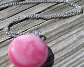 Silver and Pink Nebula Necklace