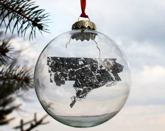Detroit Map Glass Ornament