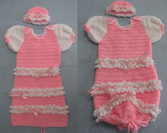 Ruffles Sweet Pea or Sleeper Outfit for Baby Downloadable Crochet Pattern