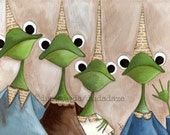 Print of my Original Whimsical Frog Folk Art Painting - The Gang