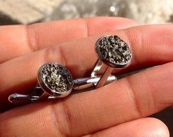 Genuine Pyrite Cluster Cufflinks - Mens Cufflinks -  Gemstone Cufflinks - Pyrite Cufflinks - Fools Gold Gift - Gift for him