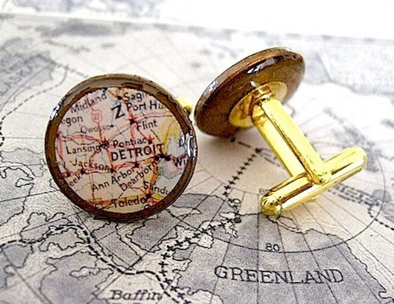 Vintage Detroit Map Cuff Links- Lucky Penny- eco friendly recycled coins -Detroit Michigan - Pontiac - Midland - Flint - Ann Arbor - Toledo