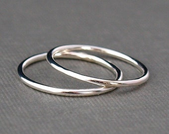 Two Plain Silver Rings , Simple Silver Ring Bands , Sterling Silver Rings