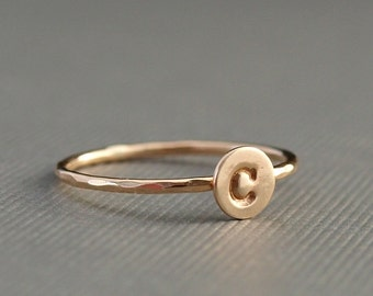 Gold Initial Ring , Personalized Gold Ring , Tiny Gold Ring