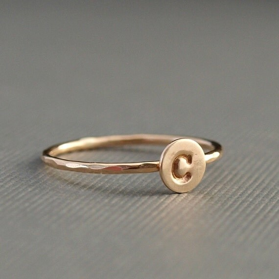 gold initial ring personalized gold ring tiny gold ring