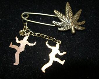 Pot Marijuana Hemp Leaf Pin  Vintage Happy Dancers Celebrate Legalization  REACT, OlympiaEtsy, WWWG, paganteam, trashionteam