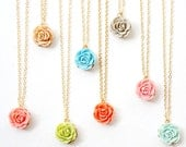 Little Garden Rose Charm Necklace