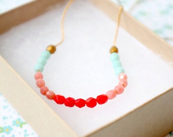 Pink and Red Color Block Skinny Strand gold filled Necklace