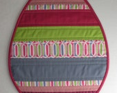 Modern Easter Egg Mini Quilt in Plum, Pink, Blue and Green, Table Topper or Placemat - Ready to ship