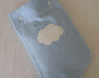 Back in stock -  Cloud Blue Flannel Hot Water Bottle Cover With Fluffy Cloud Applique
