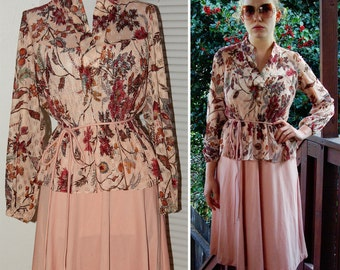 Sandy ROSE 1970's 80's Vintage Pink Peach Floral Peplum Dress with Belt size Small
