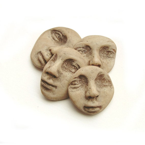 Faux Bone Fragments Face Cabs Set of 4 Art Doll Cabochon Parts Beige Oatmeal Sepia Tan Polymer Clay 2954