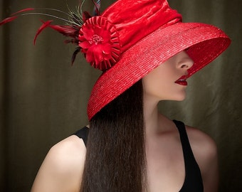 Red Hat Kentucky Derby Hat Sun Hat