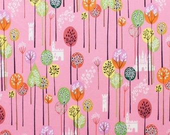 HTF 1 Yard Once Upon A Time Enchanted Forest in PINK Alexander Henry Cotton Fabric