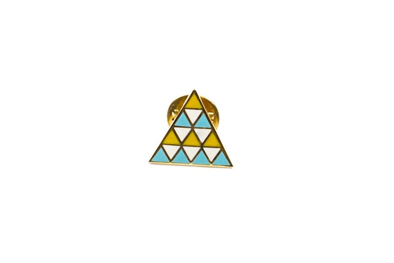 Brooch Geometric Enamel triangles pattern inspired by navajo south western