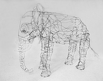 Small Elephant-Wire Drawing Sculpture
