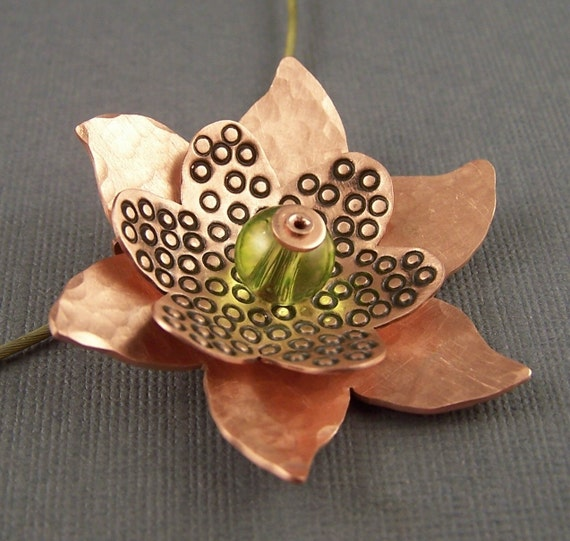 Green Glass and Copper Flower Pendant