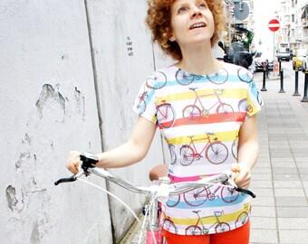 Striped printed bicycle tshirt