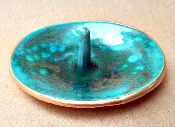 Malachite Green Ceramic Ring Holder