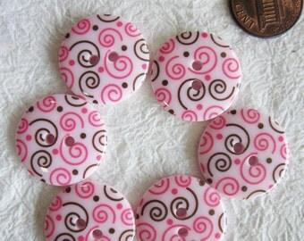 Swirl Pink Buttons 23 mm. - 15 pcs