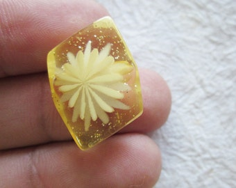 Amber Glitter flower Buttons 17 mm. - 10 pcs