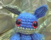 Blue and Green amigurumi crochet plush bunny