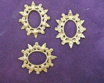 Vintage Sturdy Oval  Frames Brass Jewelry Findings (3) Filigree jc  MORE AVAILABLE