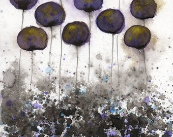 Watercolor Painting: Watercolor Flower Painting - Art Print - Sharing Secrets -- Dark Watercolor Flowers - 8x10