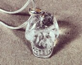 Betsy Blonde clear quartz crystal sterling silver skull necklace