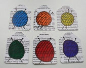 Set of 6 recycled gift tags - balls of wool