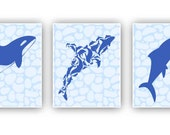 Nautical blue prints 4 kids, 8x10 prints, set of 3,dolphins inspired, for nursery decoration, beach cottage decor,  wall hangings