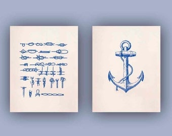 Nautical Prints Ocean Prints, Print 11x14, Set of 2 in navy blue Marine Knots, Nautical Anchor, Nautical Coastal Prints, Seaside living