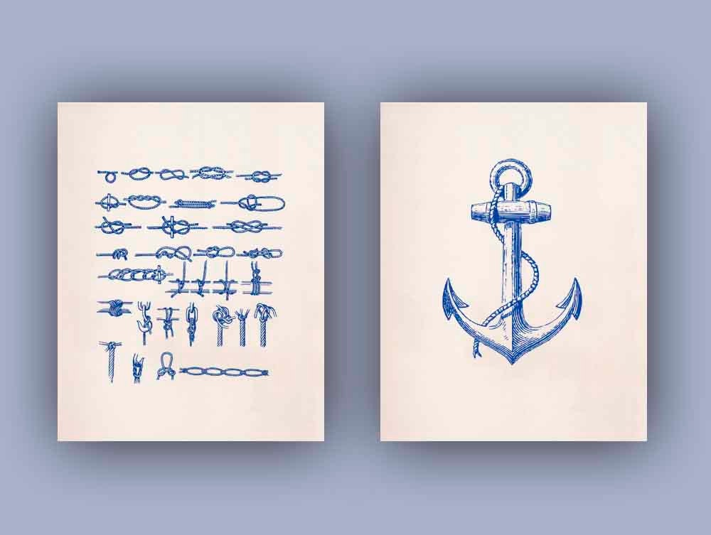 Nautical Prints Ocean Prints Print 11x14 Set of 2 in navy