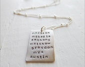 Family Necklace Personalized with up to 10 Names