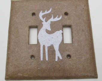 Decorative Double Deer Wall Decor Light Switch Plates, upcycled with handmade paper from reclaimed materials with junk mail deer