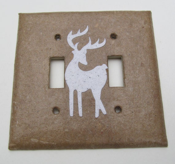 Decorative double deer wall decor light switch plates for Unique light switch plates