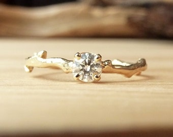 Prong Set Diamond Branch Ring