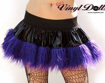 Black Vinyl and Purple Fur Rave Skirt size -S- Cyber Goth Clothes