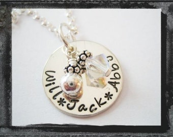 Personalized Necklace - Hand Stamped Jewelry - Sterling Silver Charm Necklace