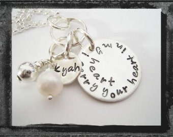 Hand Stamped Sympathy Necklace - Personalized Jewelry - I Carry You in My Heart